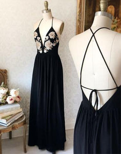 Applique Long Prom Dresses V-Neck Evening Dresses Backless A-Line Formal Dresses
