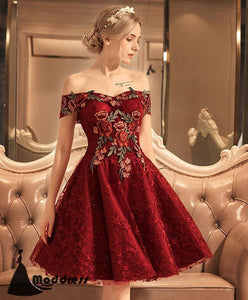 Applique Short Homecoming Dress Off the Shoulder Prom Dress Lace Formal Dresses
