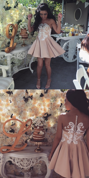 Applique Short Homecoming Dresses Fashion Prom Dresses