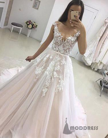 Applique Wedding Dresses Tulle Bridal Dresses Long Prom Dresses,HS529