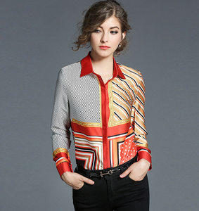 Autumn Women Blouses Print Long Sleeve Casual Shirts Lapel Business Blouses,CS00012