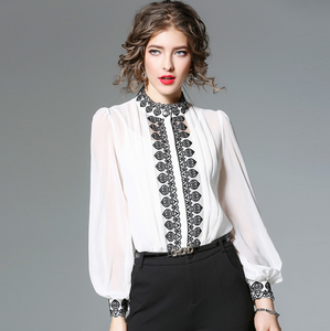 Autumn Women Blouses Stand Collar Lantern Long Sleeved Shirts Embroidery Casual Women Casual Shirts,CS0008