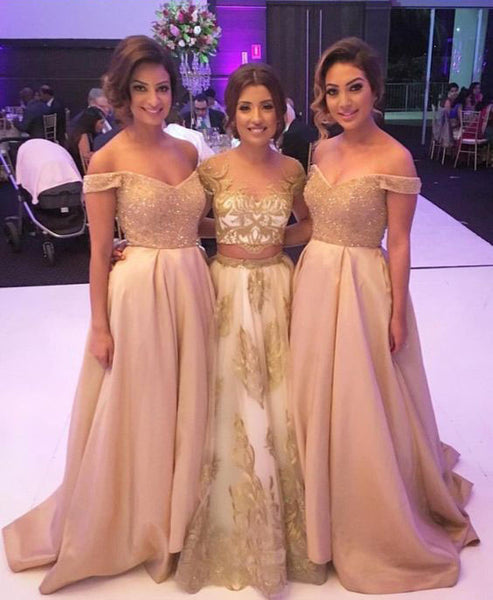Beaded Bridesmaid Dresses A-Line Long Bridesmaid Dresses Off the Shoulder Bridesmaid Dresses,MG0017