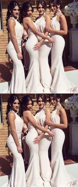Beaded Bridesmaid Dresses Halter Mermaid Long Bridesmaid Dresses Backless Prom Dresses
