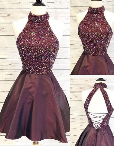 Beaded Homecoming Dresses High Neck Homecoming Dresses A-Line Homecoming Dresses