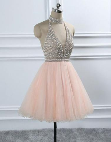 Beaded Homecoming Dresses High Neck Short Prom Dresses Knee Length Formal Dresses