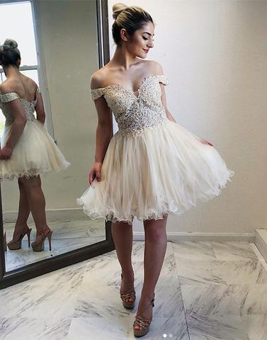 Beaded Homecoming Dresses Off the Shoulder Homecoming Dresses Tulle A-Line Homecoming Dresses