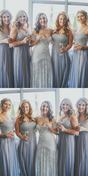 Beaded Long Bridesmaid Dresses Blue Tulle A-Line Bridesmaid Dresses Spaghetti Straps Bridesmaid Dresses