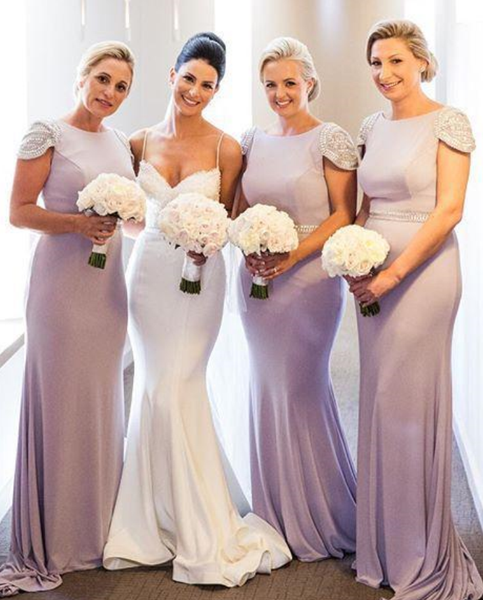 Beaded Long Bridesmaid Dresses Mermaid Bridesmaid Dresses Short Sleeve Scoop Bridesmaid Dresses
