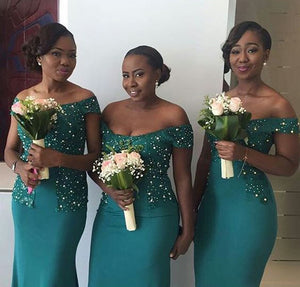 Beaded Long Bridesmaid Dresses Off the Shoulder Bridesmaid Dresses Mermaid Bridesmaid Dresses