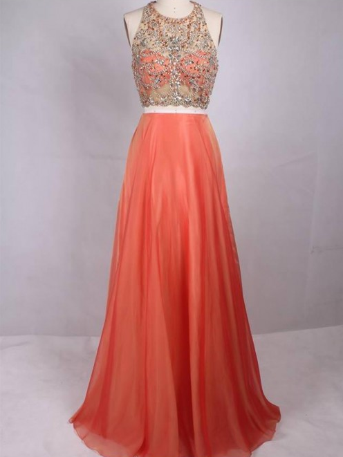 Beaded Long Prom Dresses 2 Pieces Evening Dresses Halter Backless Formal Dresses