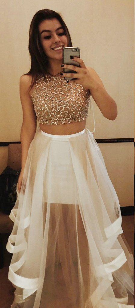 Beaded Long Prom Dresses 2 Pieces Evening Dresses Illusion Formal Dresses