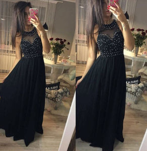 Beaded Long Prom Dresses A-Line Formal Dresses Black Sleeveless Formal Dresses