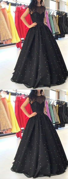 Beaded Long Prom Dresses Black Evening Dresses A-Line Formal Dresses