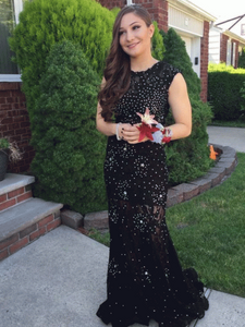 Beaded Long Prom Dresses Black Evening Dresses Mermaid Formal Dresses