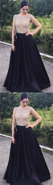 Beaded Long Prom Dresses Black Satin Evening Dresses A-Line Formal Dresses