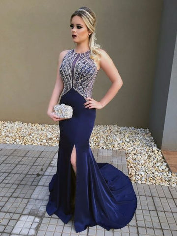Beaded Long Prom Dresses Blue Evening Dresses Mermaid Formal Dresses with High Slit