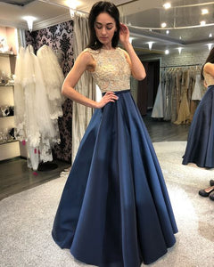Beaded Long Prom Dresses Blue Satin Evening Dresses A-Line Formal Dresses
