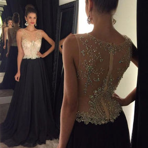 Beaded Long Prom Dresses Chiffon A-Line Evening Formal Dresses