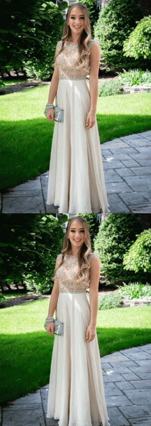 Beaded Long Prom Dresses Chiffon Evening Dresses A-Line Formal Dresses