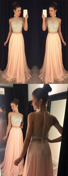 Beaded Long Prom Dresses Chiffon Evening Dresses A-Line Sleeveless Formal Dresses