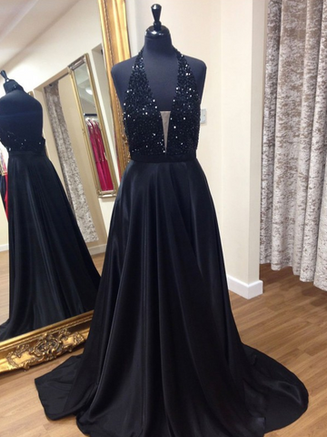 Beaded Long Prom Dresses Deep V-Neck Evening Dresses Black Backless A-Line Formal Dresses
