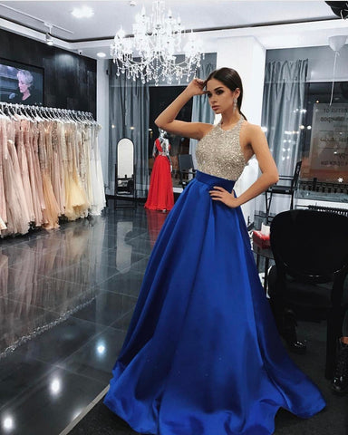 Beaded Long Prom Dresses Halter Backless Evening Dresses A-Line Formal Dresses