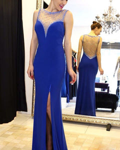 Beaded Long Prom Dresses Mermaid Evening Dresses Royal Blue Formal Dresses