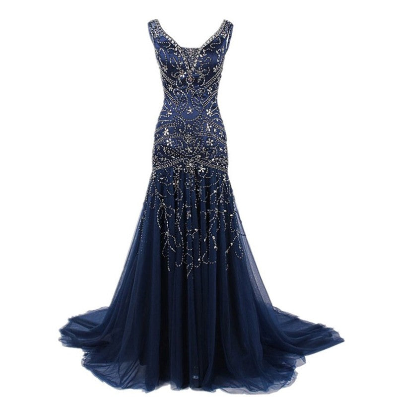 Beaded Long Prom Dresses Mermaid Evening Dresses Sleeveless Formal Dresses