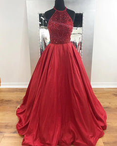 Beaded Long Prom Dresses Red Evening Dresses A-Line Formal Dresses