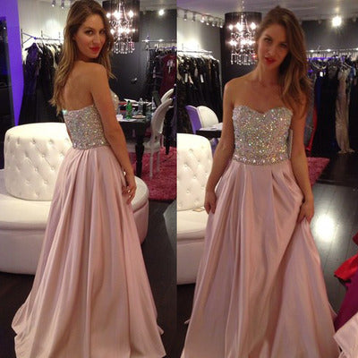 Beaded Long Prom Dresses Sweetheart Evening Dresses A-Line Formal Dresses