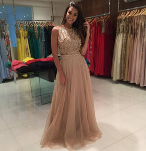 Beaded Long Prom Dresses Tulle Evening Dresses A-Line Formal Dresses