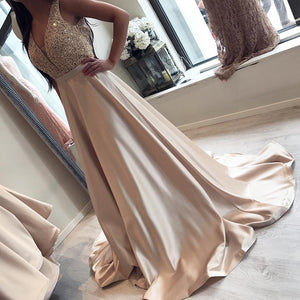 Beaded Long Prom Dresses V-Neck Evening Dresses Satin A-Line Formal Dresses