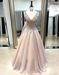 Beaded Long Prom Dresses V-Neck Formal Dresses A-Line Evening Dresses