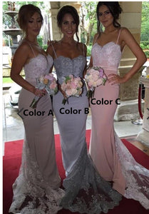 Beaded Mermaid Bridesmaid Dresses Applique Bridesmaid Dresses Spaghetti Straps Bridesmaid Dresses