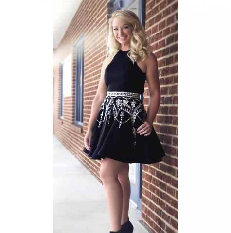 Beaded Short Homecoming Dresses Black Short Homecoming Dresses A-Line Homecoming Dresses