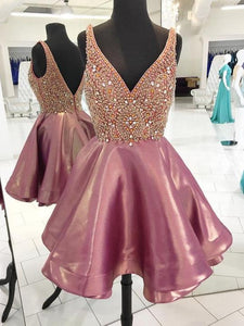 Beaded Short Homecoming Dresses V-Neck Short Homecoming Dresses Backless Short Homecoming Dresses