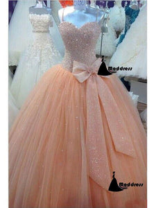 Beading Long Prom Dress Ball Gown Sequins Floor-length Evening Dress Tulle Wedding Dress,HS314