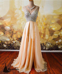 Beading V-Neck Long Prom Dress A-Line High Slit Backless Evening Dress Formal Dress,HS475