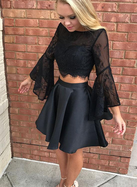 Black 2 Pieces Homecoming Dresses Lace Pearls Prom Dresses Long Sleeve Evening Formal Dresses,MG006