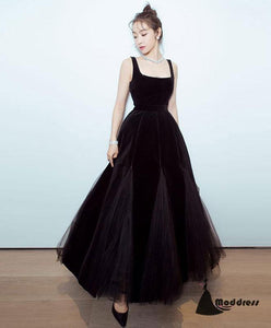 Black Long Prom Dress Tee Length Evening Dress Sleeveless Formal Dress,HS488