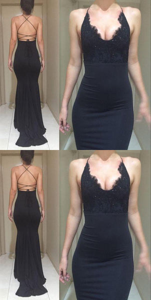 Black Sexy Open Back Halter Mermaid Lace Cheap Long Prom Dresses