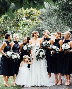 Black Short Bridesmaid Dresses A-Line Bridesmaid Dresses