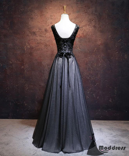 Black V-Neck Long Prom Dress Applique Evening Dress Tulle A-Line Formal Dress