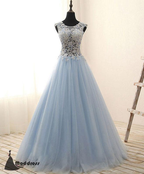 Blue Applique Long Prom Dress Tulle A-line Evening Dress Formal Dress,HS500