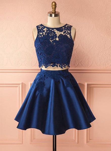 Blue Lace 2 Pieces Short Homecoming Dresses Satin Prom Dresses Knee Length Evening Formal Dresses,MG007