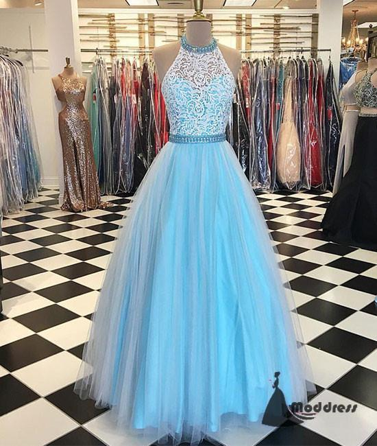 Blue Long Prom Dress Halter Lace Tulle Evening Dress Formal Dress,HS457