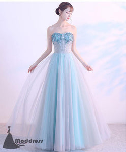 Blue Long Prom Dress Sweetheart Evening Dress Applique Tulle Formal Dresses