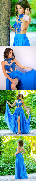 Blue Sexy See-Through Tulle Lace Appliques With Sequins High Neck Side Slit Prom Dresses,HS141