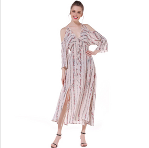 Bohemia Floral Vertical Stripes Chiffon Harness Dresses Summer Beach Long Dresses Casual Dresses,CQ0007